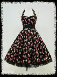 BLACK-FLORAL-50s-PINUP-ROCKABILLY-SWING-VTG-PROM-DRESS