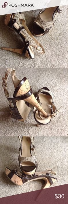 GUESS Peep Toe Heels Excellent condition. Guess peep toe heels with cork heel, Heel is 5 1/2 inches. Guess Shoes Heels