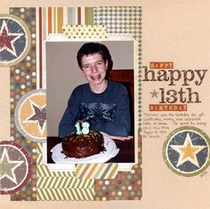 Simple layout using the Simple Stories Awesome collection! Happy 13th Birthday, 13th Birthday Parties, Scrapbook Paper Crafts, Scrapbook Supplies, Scrapbooking, Birthday Scrapbook Layouts, 12 Year Old Boy, Simple Stories, Close To My Heart