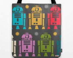 Star wars Tote Bag, Geek Bag, R2D2 design bag,  Kids tote bag, Grocery Bag, Modern tote bag, Contemporary bag, Robots tote bag