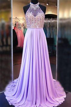 A Line Cowl Neck Sleeveless Prom Dresses d616065b04f1