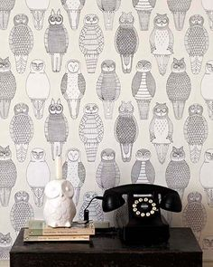 Pirie - Look its owl wall paper! Abigail Edwards Owl of the British Isles B&w Wallpaper, Animal Wallpaper, Wallpaper Designs, Wallpaper Online, Telephone Retro, Objet Deco Design, Owl Always Love You, Designer Wallpaper, Sweet Home