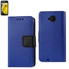 Reiko Wallet Case 3 In 1 For Motorola Moto E Lte (2Nd Generation) Navy With Interior Leather-Like Material And Polymer Cover
