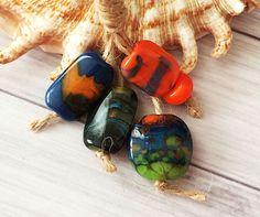 Art Lampwork Glass Beads From Murano Glass Handmade Multi-Color 5 Pcs #HandmadeLampworkBeads #Lampwork