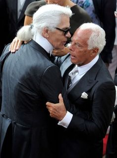 """""""Designers Karl Lagerfeld and Giorgio Armani greet each other as they attend the religious ceremony of the Royal Wedding of Prince Albert II of Monaco to Charlene Wittstock in the main courtyard at Prince's Palace on July 2011 in Monaco, Monaco. Giorgio Armani, Armani Si, Armani Code, Emporio Armani, Karl Lagerfeld, Fendi, Armani Gift Set, Armani Parfum, Carolina Herrera"""