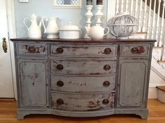 Antique Sideboard Buffet Console Refinished In Blue Milk Paint Hand  Distressed With Chippy Finish Nautical Coastal