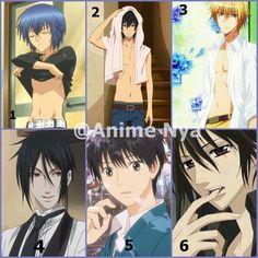 1. Ikuto Tsukiyomi (Shugo Chara) 2. Haru Yoshida (Tonari no Kaibutsu-kun) 3. Usui Takumi (Kaichou Wa Maid-sama), 4. Sebastian Michealis (Black Butler), 5. Shota Kazehaya  (Kimi ni Todoke) 6. Kaname Kuran (Vampire Knight)