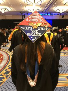 "Grad cap ""She needed a hero, so that's what she became"" Wonder Woman #wonderwoman"