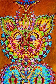 Paisley Cat    watercolour  on paper   Louis Wain