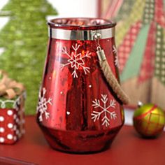 Red Snowflake Candle Lantern