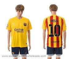Cheap 15/16 Barcelona #10 Messi Away Soccer Club Jersey