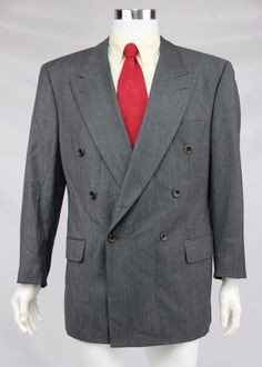 Hugo Boss Mens Size 42R Gray Double Breasted 100% Wool Zeus Suit Coat Jacket #HUGOBOSS #DoubleBreasted