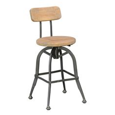 Buster 24-inch Iron and Pine Counter Stool