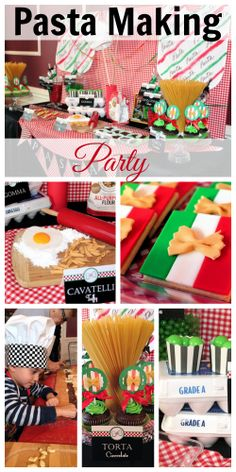 "Who loves pasta? How about throwing a ""pasta making"" party filled with lots of Italian food details, like the Italian flag cookies! See more party ideas at CatchMyParty.com."