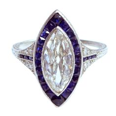 Edwardian Marquise Diamond Sapphire Edged Ring | From a unique collection of vintage more rings at http://www.1stdibs.com/jewelry/rings/more-rings/