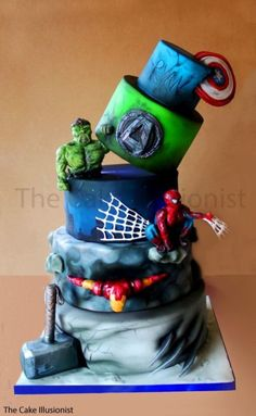 All models candyclay Airbrush: Iwata HPC+ Colours: Kroma Cake: Chocolate Design – very silly but got there in the end. Avengers Birthday Cakes, Superhero Birthday Cake, Superhero Party, Boy Birthday, Cake Birthday, Marvel Cake, Marvel Avengers, Batman Cakes, Bolo Angry Birds