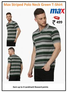 #Max #Striped #Polo #Neck #Grey #T-Shirt  #Type : Polo Neck #Price: ₹499.00 #Fit : Regular #Design : Stripes #Fabric : Cotton Blend #Range : Great Value Polo Tees, Neck T Shirt, Stripes, Fabric, Mens Tops, Cotton, Stuff To Buy, Shirts, Design