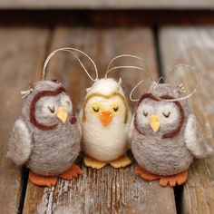 ~ The 3 lovely sleepy owls ~ Owl Ornaments - Needle Felted by BossysFeltworks