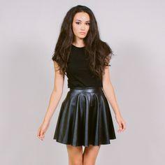 Black Vegan Leather Skater Skirt from Haute Attitude
