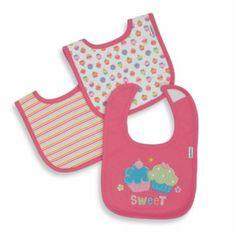 Gerber® Cotton Interlock Bibs 3-Pack in Pink Flower Love - buybuyBaby.com