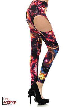 Cosmos Galaxy Garter Leggings - $42.00 at OnlyLeggings.com - #onlyleggings