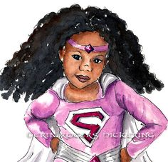 African American Super Girl with Natural Hair 8x10 art Print. $21.00, via Etsy.