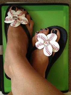 Baseball Flip Flop Sandal Flowers  Baseball Mom  by DishandStitch, $16.00