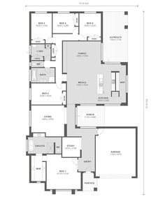 Move the front room to the back and put living room in front. Bryan & Petersen Quality Builders - Ballarat and Warrnambool 5 Bedroom House Plans, New House Plans, Dream House Plans, House Floor Plans, 5 Bed House, Build Dream Home, Single Storey House Plans, Architectural Floor Plans, Cottage Plan