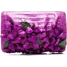 Nancy Gonzalez Magenta Bougainvillea Clutch ($2,850) ❤ liked on Polyvore featuring bags, handbags, clutches, floral clutches, floral print purse, crocodile handbags, croc purse and purple purse