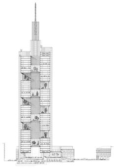 """Section Commerzbank Tower Frankfurt Foster + Partners DETAILED CAD """"Section through the Commerzbank Tower in Frankfurt by Foster + Partners showing the sky gardens dispersed throughout the structure. These allow more natural light to penetrate the interior, reducing the need for artificial sourcesand cultivating a general sense of well being. Despite its scale, Commerzbank was one ofthe first genuinely 'ecological' skyscrapers"""""""