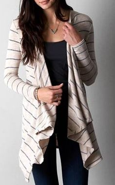 AEO Feather Light Striped Open Cardigan
