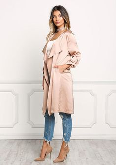 $47 Blush Satin Layered Light Duster Coat