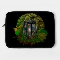 Abandoned Tardis in the deep jungle Laptop Case #laptopcase #laptop #case #cover #teepublic #snow #spring #winter #fall #autumn #halloween #davidtennant #10thdoctor #fog #mist #doctorwho #tardis #starrynight #vangogh #summer #scary #jungle #11thdoctor #woods #plant