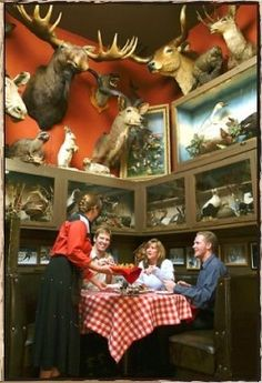 Denver restaurant: Buckhorn Exchange. Has taxidermic animals all over and exotic things on menu like alligator tail, rattlesnake sausage, and buffalo burgers.