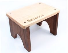Personalized Wooden Step Stool - Natural Hardwood Keepsake With Your Child's…