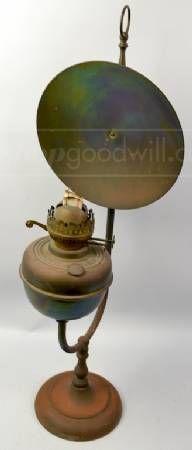 Antique Brass Student Lamp / Original Oil Kerosene Lamp Green ...