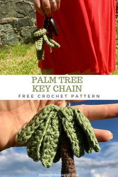 Palm Tree key Chain Free Crochet pattern. A quick and no-sew amigurumi pattern   #palmtree #palmtreekeychain #crochetkeychain Crochet Cup Cozy, Crochet Mittens, Crochet Dishcloths, Crochet Home, Crochet Gifts, Free Crochet, Free Pattern, Pattern Ideas, Crochet Keychain