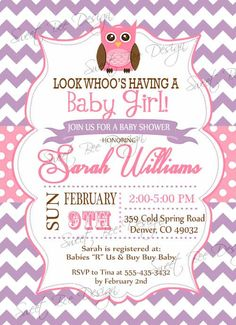 Owl Baby Shower Invitation , Owl Birthday Invitation, Owl Baby Shower, Owl  Invitation, Baby Shower Invitation, Baby Girl Shower