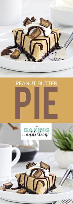 Peanut Butter Pie is made with a chocolate cookie crust and smooth, creamy peanut butter filling. So easy and so delicious! Your guests will be begging you for this recipe! Peanut Butter Filling, Peanut Butter Desserts, Butter Pie, Creamy Peanut Butter, Chocolate Desserts, Dessert Simple, Pie Dessert, Dessert Recipes, Pie Recipes