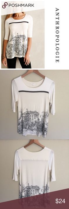 Anthropologie Weston Hall & Parlor Tee Anthropologie brand Weston Wear Hall and Parlor tee. Tunic length off-white tee with 3/4 sleeves. Hand drawn illustrated cityscape on front and back. Size M. In good condition, some minor pilling under arms as pictured. Anthropologie Tops