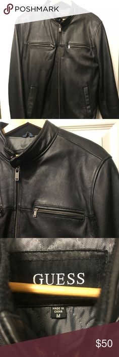 Men's guess Genuine Leather Jacket Used in good condition. Slight wear on one of the sleeves as seen in pic. Perfect for winter.. Authentic leather. Guess Jackets & Coats Bomber & Varsity