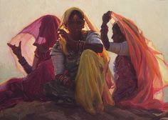 Three Woman by artist Scott Burdick, who travels the world painting, mostly, portraits.