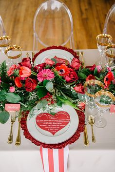 Prettiest tablescape with heart-shaped menu