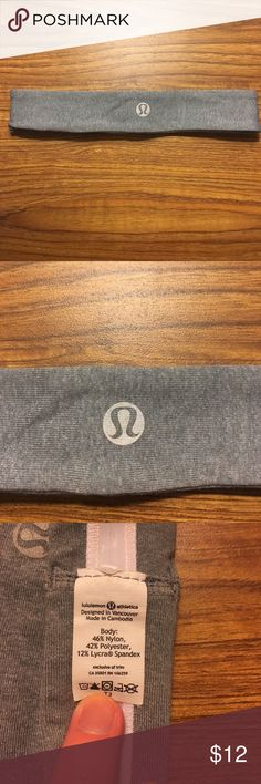 Grey lululemon headband Grey headband with hair grilling material inside, washable, some bronzer stain on the inside from taking it on and off but washable, never worn when working out only to school when I was feeling sporty, otherwise perfect condition, no trades sorry! lululemon athletica Accessories Hair Accessories