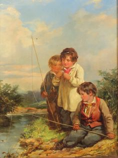 """Lot 440d, 19th Century oil on panel a study of 3 young boys fishing on a river bank, unsigned, 12"""" x 9"""", Est £100-200"""