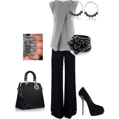 A fashion look from July 2012 featuring silver silk top, vintage high waisted pants and black heel pumps. Browse and shop related looks.