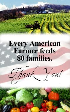 Every American Farmer feeds 80 families. Thank you from Kitchen Craft Cookware! http://www.kitchencraftcookware.com