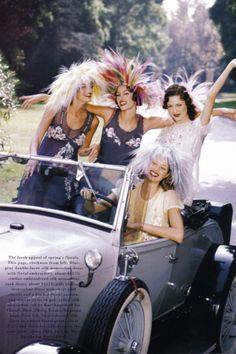 """Garden Party"": Shalom Harlow, Shiraz, Susan Holmes & Anja Kneller by Patrick Demarchelier for US Harper's Bazaar 2010."