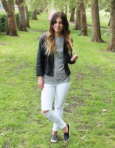 9f978950b69756 Sweet Monday UK fashion blog - Quiz clothing white rip knee jeans ...