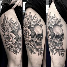 "1,385 Likes, 14 Comments - Maud Dardeau Tatouages (@mauddardeau) on Instagram: ""#skullandflowers #skull #tattoo #blacktattoo #blackink #blackworktattoo #mauddardeautatouages…"""